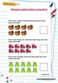 Simple subtraction practice worksheet