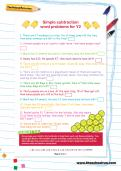 Simple subtraction word problems for Y2 worksheet