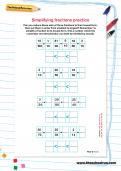 Simplifying fractions practice worksheet