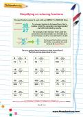 Simplifying or reducing fractions worksheet