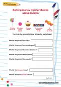 Solving money word problems using addition worksheet