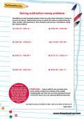 Solving subtraction money problems worksheet