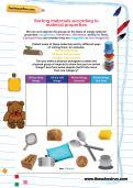Sorting materials according to material properties worksheet