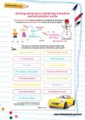 Sorting sentences containing transitive and intransitive verbs worksheet