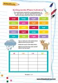 Sorting words (Phase 3 phonics) worksheet