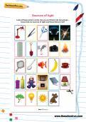 Sources of light worksheet