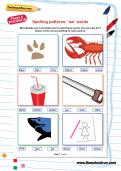 Spelling patterns: 'aw' words worksheet