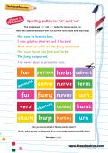Spelling patterns: 'er' and 'ur' worksheet