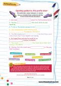 Spelling patterns: the prefix inter- football worksheet