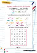 Spelling patterns: 'wa' or 'qua' words worksheet