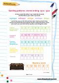 Spelling patterns: words ending -que / -gue worksheet