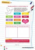 Spelling patterns: words ending -ve worksheet