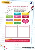 Spelling patterns: words ending -ve worksheet