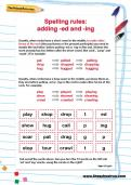 Spelling rules: adding -ed and -ing worksheet