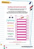 Spelling unstressed vowel words worksheet