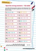 Spot the wrong answers: 12 times table worksheet