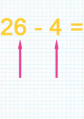 Subtracting a one digit number from a two digit number tutorial