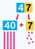 Subtracting a tens number from a two digit number tutorial
