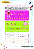 Subtracting negative numbers practice worksheet