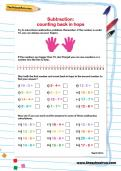 Subtraction counting back in hops worksheet