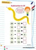 Subtraction to 20 worksheet