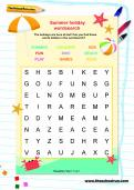 Summer holiday wordsearch for Reception and Y1