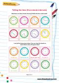 Telling the time (five-minute intervals) worksheet