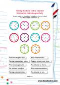 Telling the time to the nearest 5 minutes: matching activity