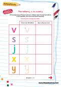 The letters j, v, w, x and y worksheet