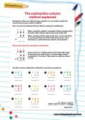 The subtraction column method explained worksheet