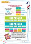 The /zh/ phoneme mini bingo (Phase 5 phonics) worksheet