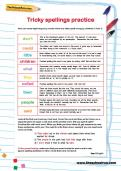 Tricky spellings practice worksheet