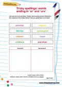 Tricky spellings: words ending ar and ure worksheet