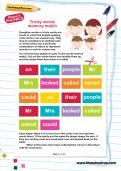 Tricky words memory match worksheet