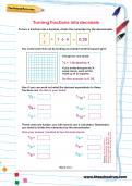 Turning fractions into decimals worksheet