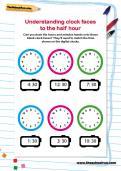 Understanding clock faces to the half hour worksheet