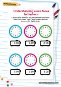 Understanding clock faces to the hour worksheet