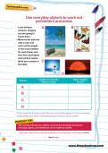 Use everyday objects to work out perimeters and areas worksheet