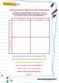 Using a Carroll diagram to sort information worksheet
