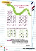 Using a number line 0-20: addition worksheet