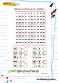 Using a number square: addition worksheet