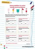 Using addition to solve money word problems worksheet