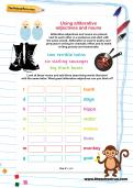Using alliterative adjectives and nouns worksheet