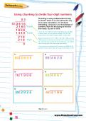 Using chunking to divide four-digit numbers worksheet
