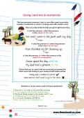 Using I and me in sentences worksheet