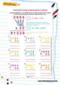 Using the long multiplication method worksheet