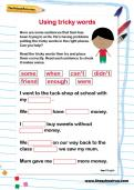 Using tricky words worksheet