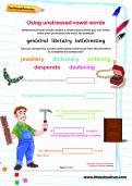 Using unstressed vowel words worksheet