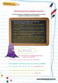 Verbal reasoning worksheet: Algebra practice