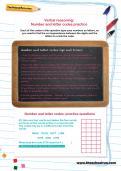 Verbal reasoning worksheet: Number and letter codes practice